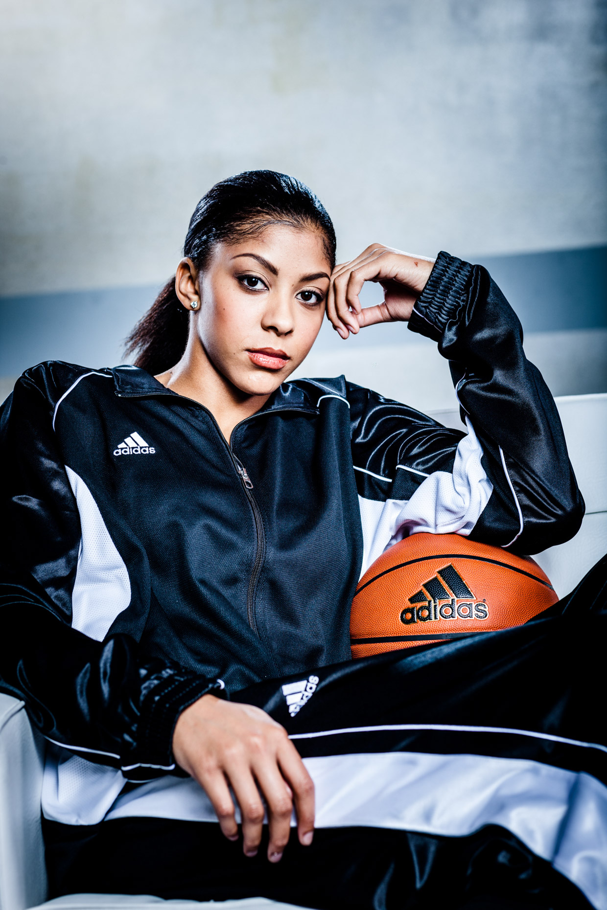 WNBA basketball player Candace Parker for adidas by dramatic portrait photographer Andy Batt