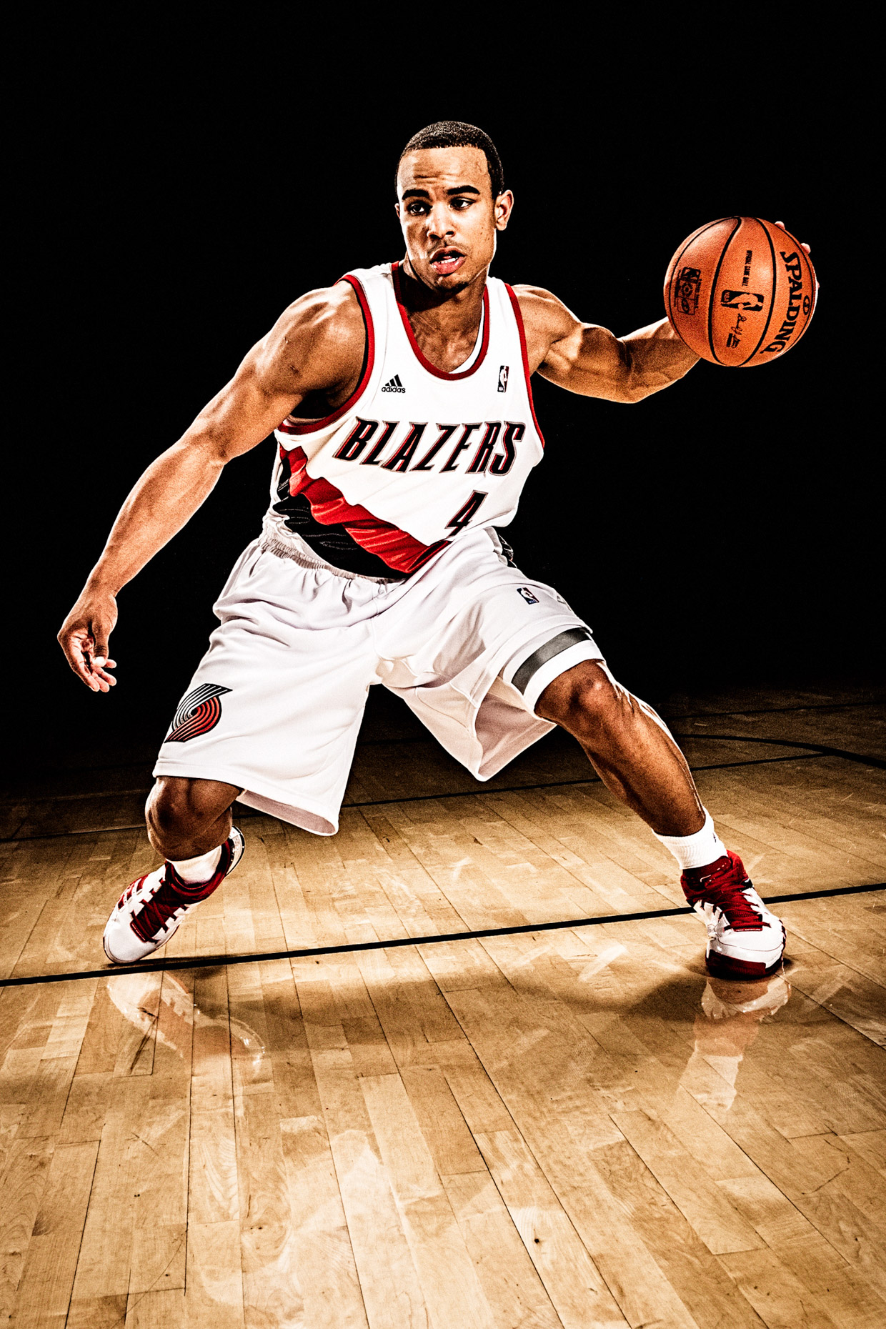 NBA basketball player Jerryd Bayless, photographed by dramatic sport photographer Andy Batt.