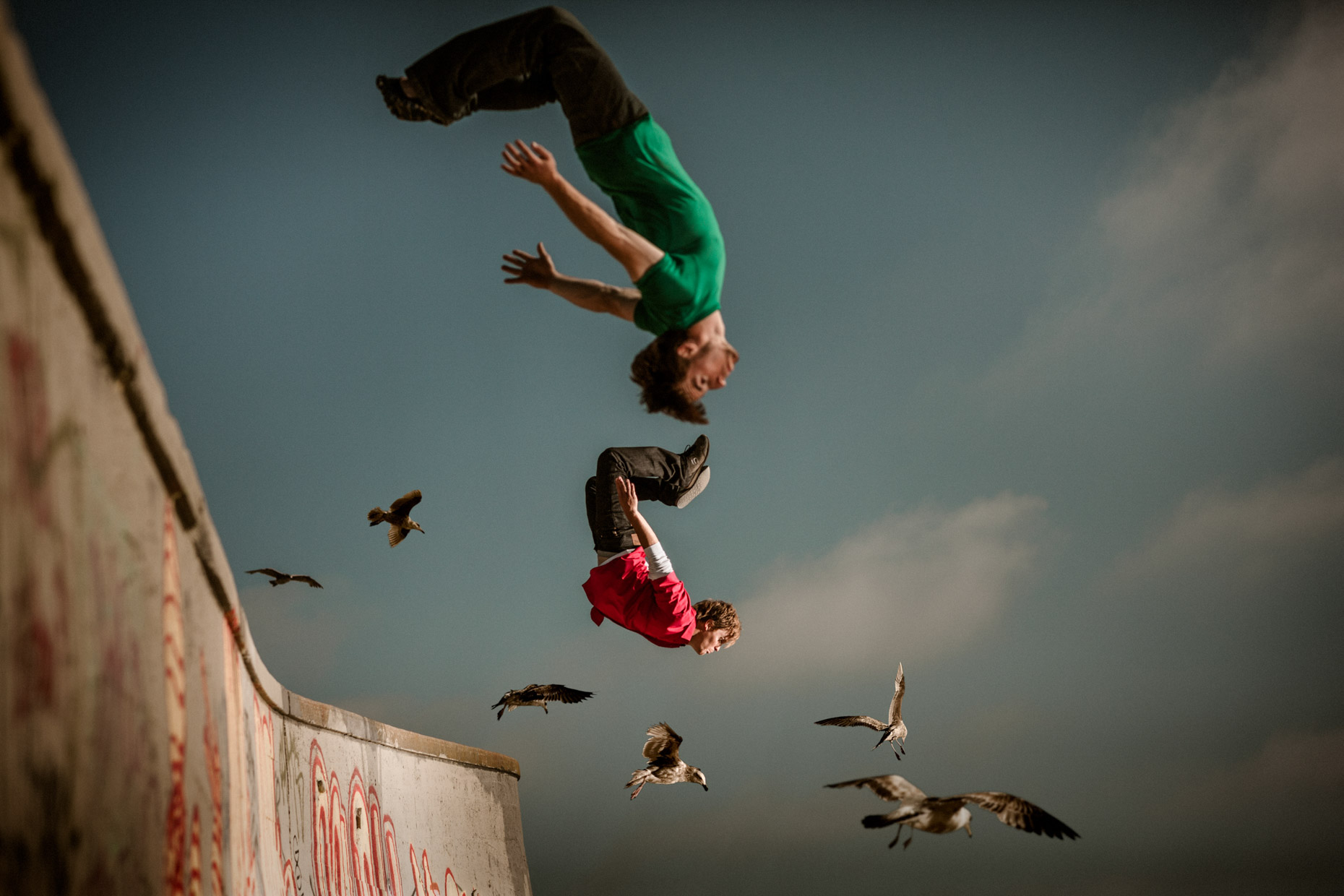 Freerunners Brian Orosco and Tyson Cecka fly off the wall