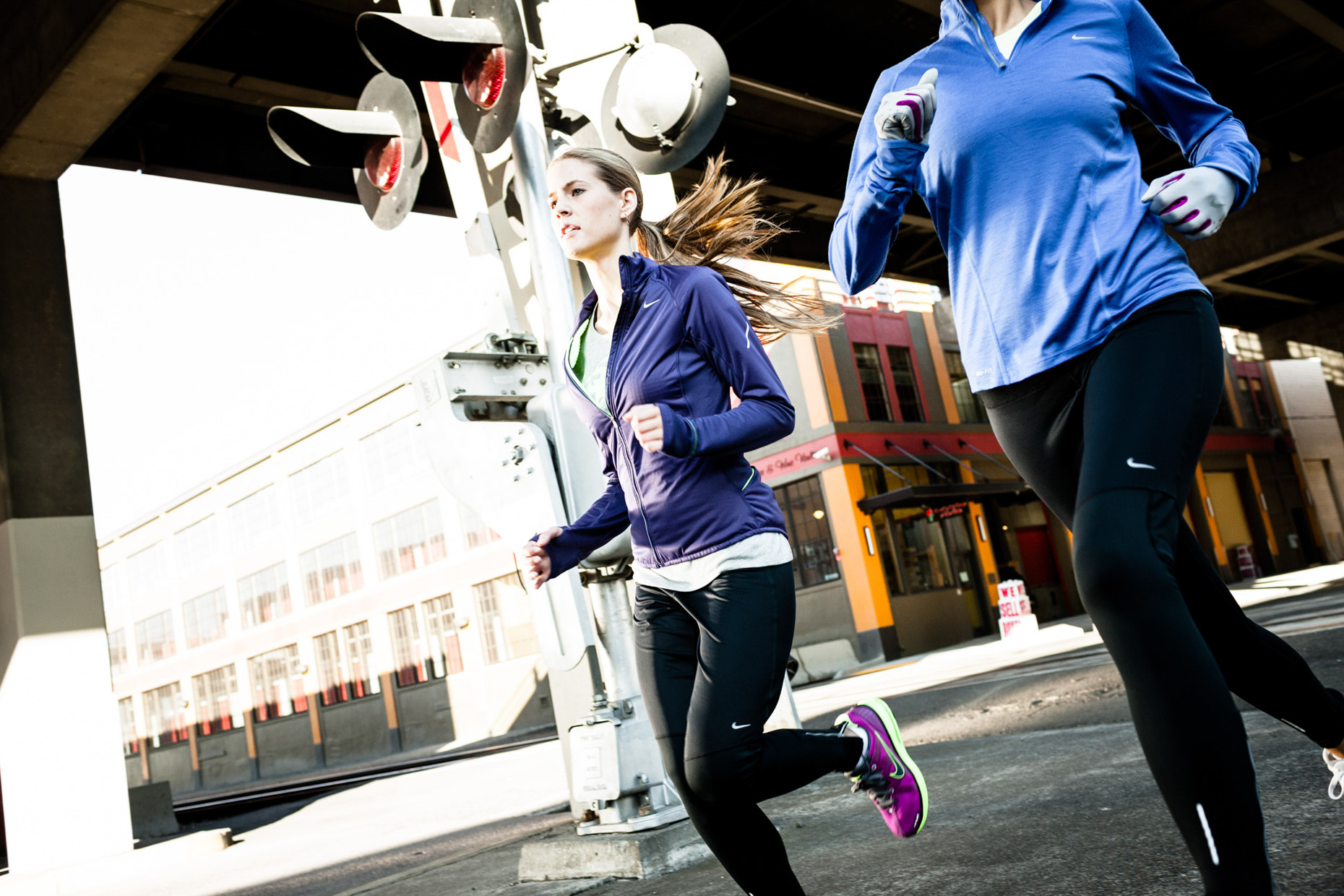 Nike running campaign in SE Industrial area of Portland Oregon by fitness photographer Andy Batt