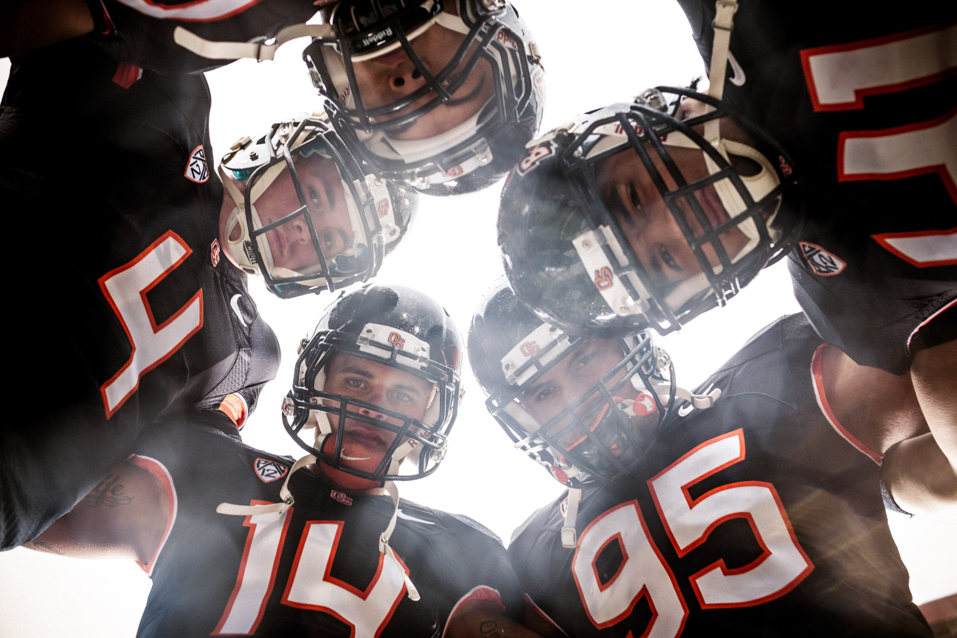 OSU Beavers football team by sport photographer Andy Batt