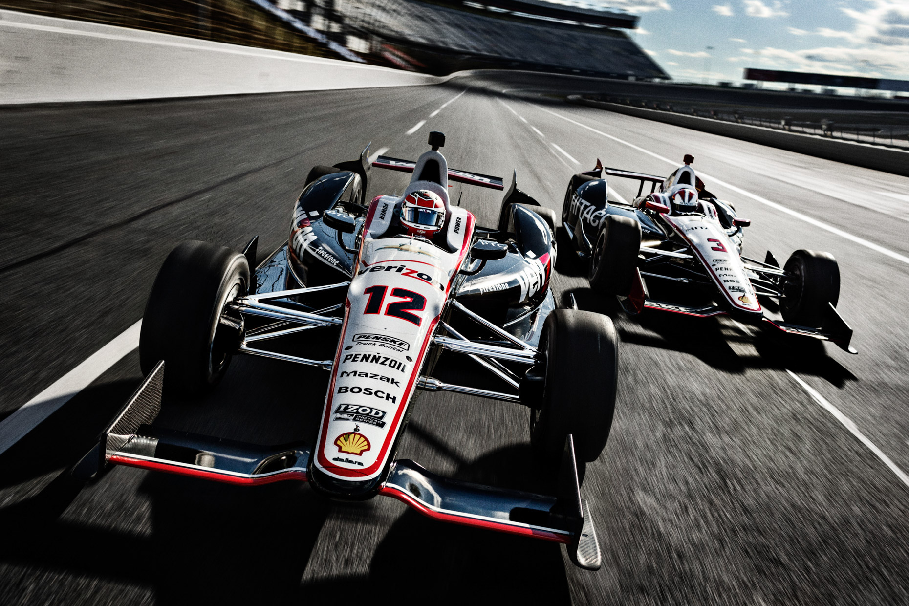 Indycar racing for Verizon, featuring Will Power