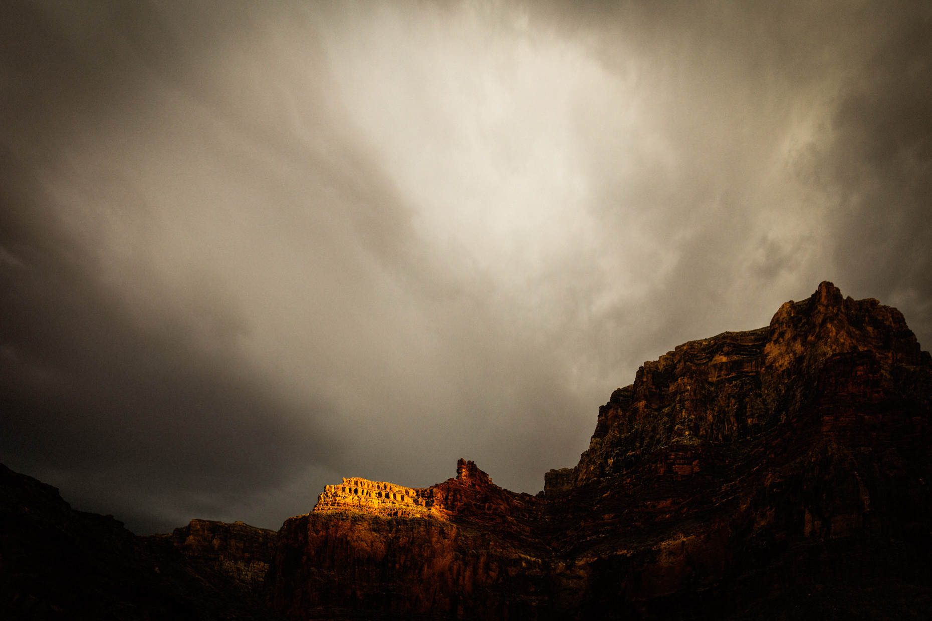 Grand Canyon White Water River Trip on Colorado River as a storm moved in.