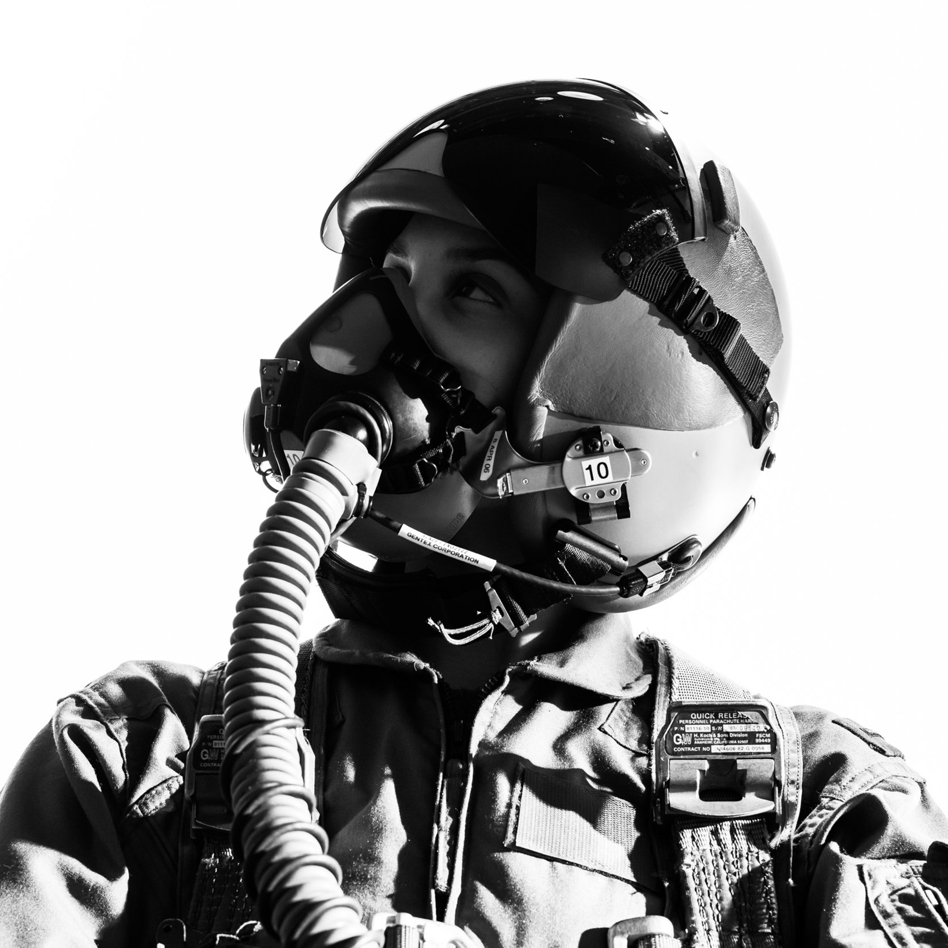 intense test pilot portrait for Northrop Grumman