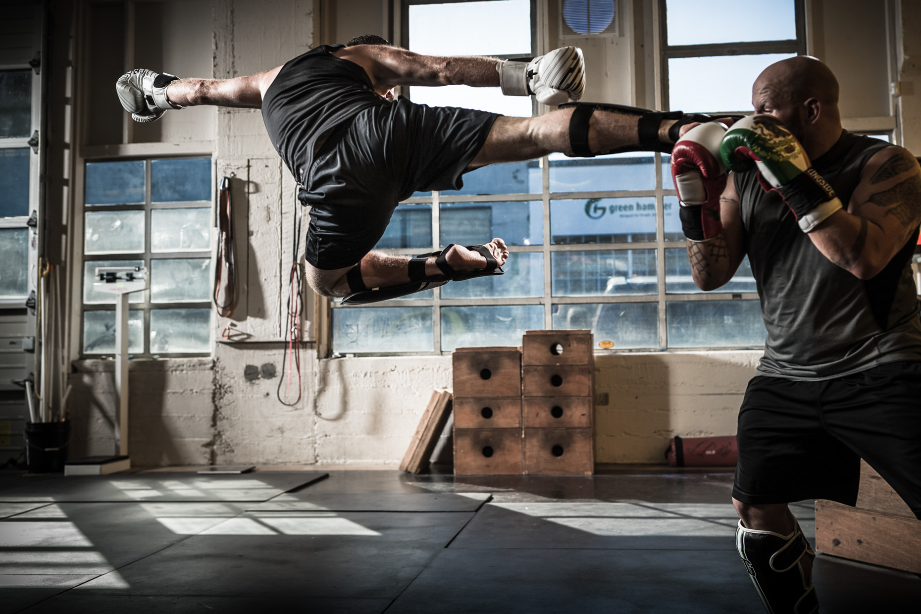 MMA training in crossfit fitness gym