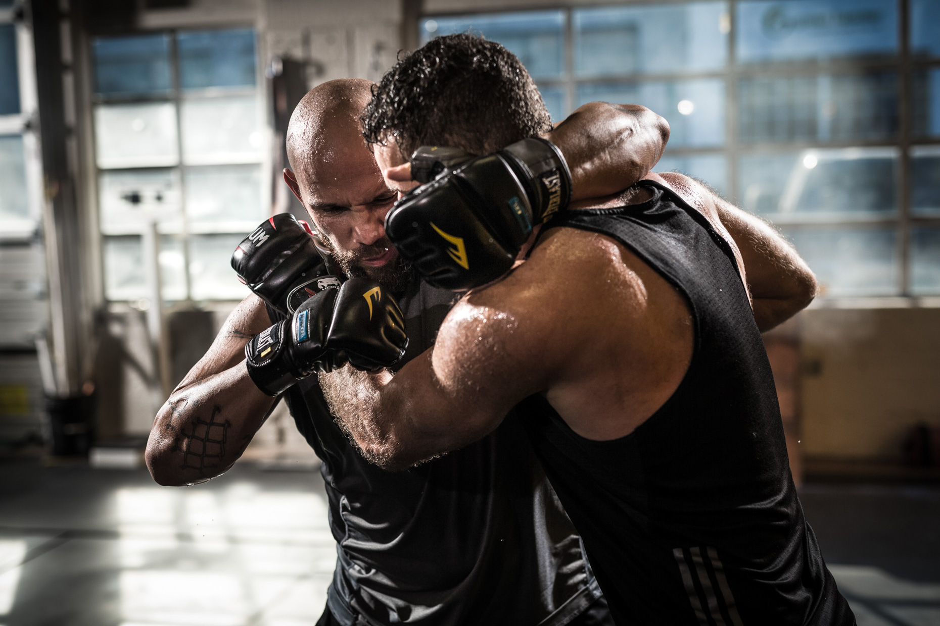 MMA fighters Will Hatcher and Jose Rodriguez train for sport photographer Andy Batt.