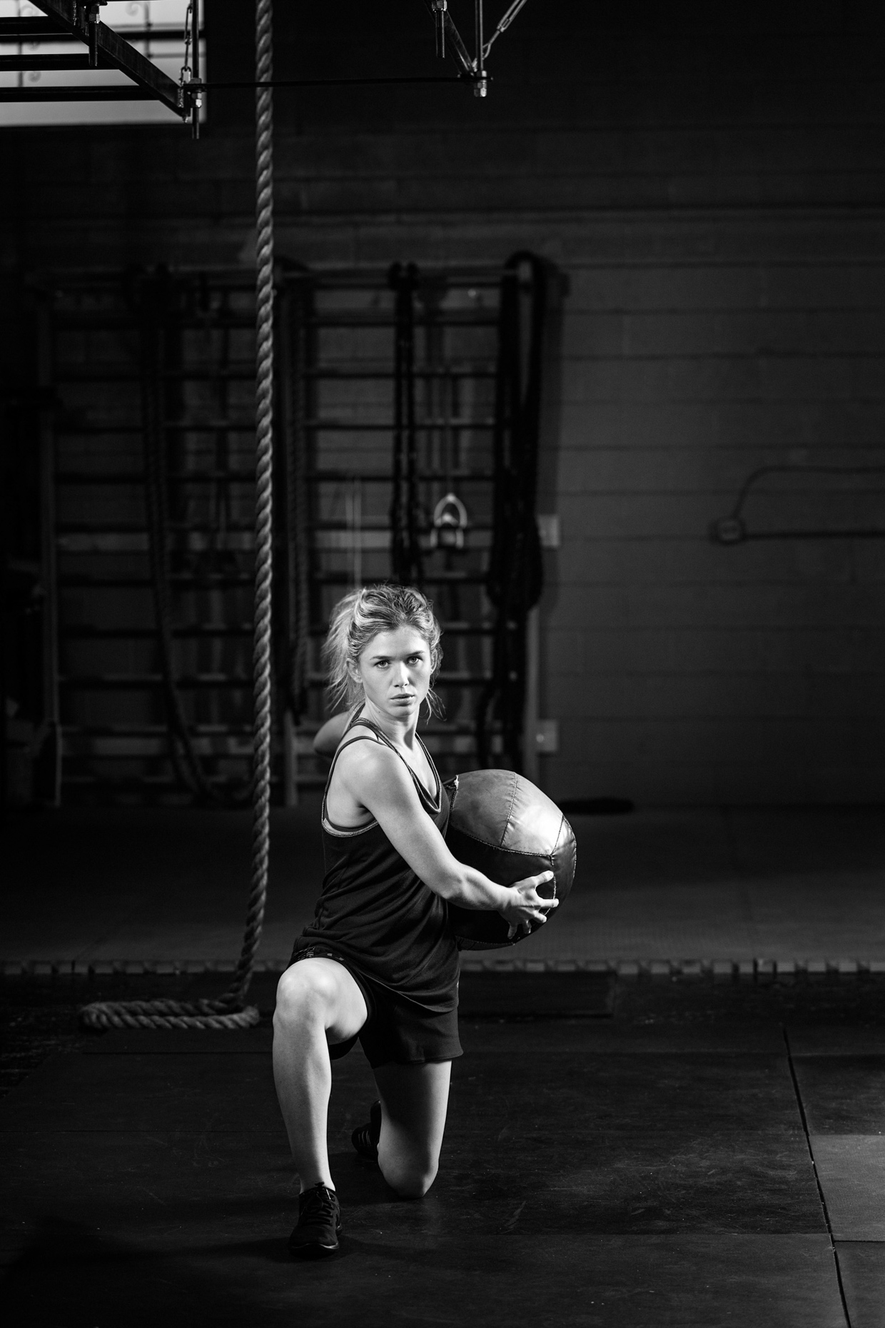 medicine ball workout in crossfit gym for Hibbett Sports
