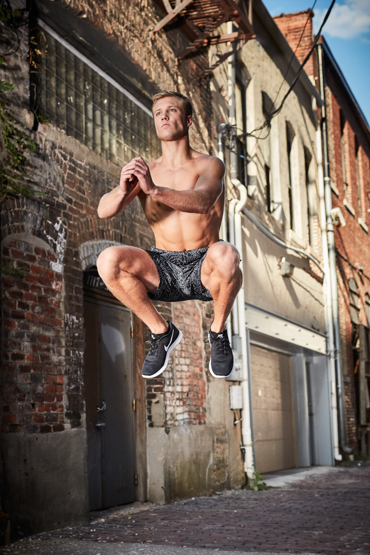 Fitness training in a back alley in Birmingham for Hibbett Sports