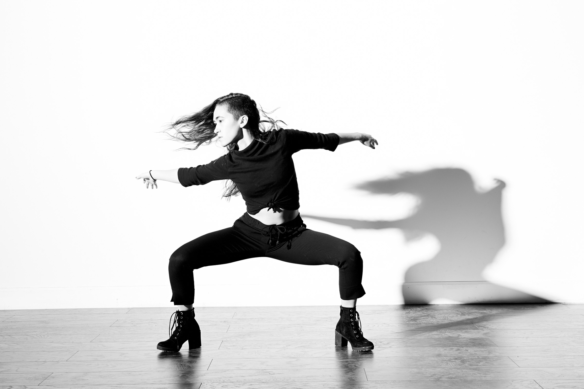Modern dancer Paula Metzler poses for dramatic photographer Andy Batt.