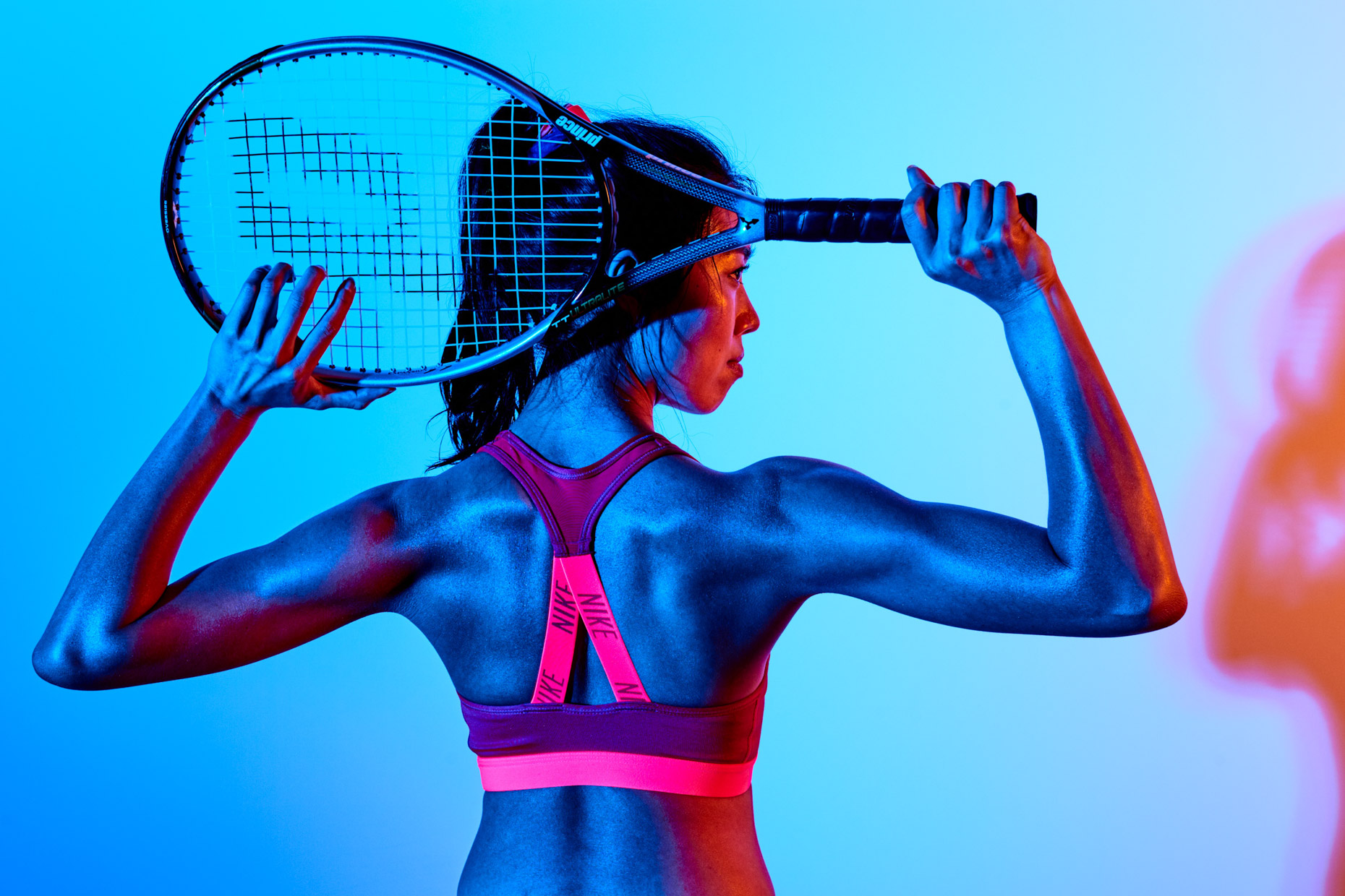 Professional sport athlete Jenny Meeker, of Option Models and Media, plays tennis