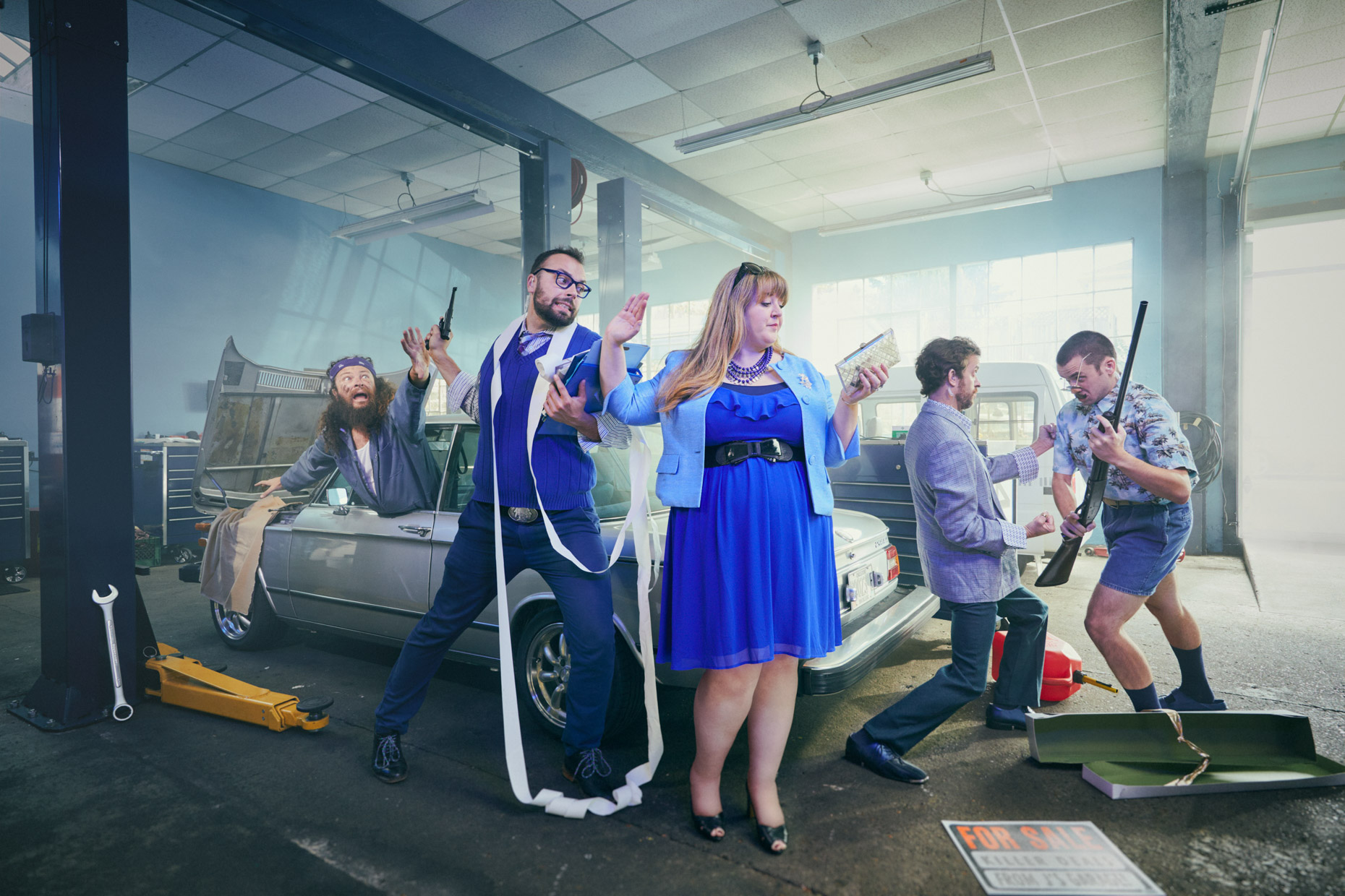 Improv comedy team J Names struggle at an auto-body shop