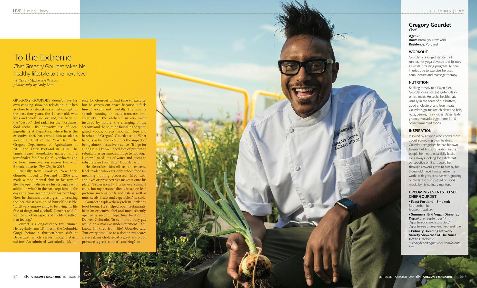 Departure chef Gregory Gourdet for 1859 Magazine